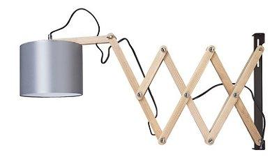 Arandela Woody Articulada Madeira Cupula Tecido 37x18cm Luciin 1x Lâmpada E27 Bivolt CF171/12 Mesas e Escritórios