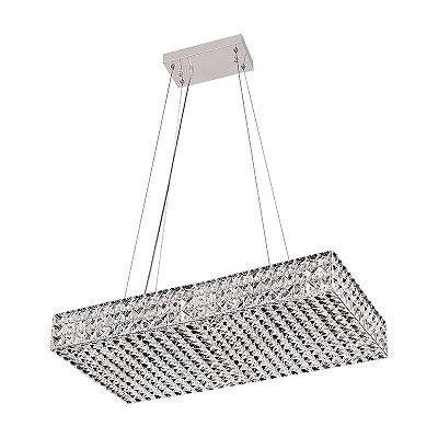 Pendente Incelano Metal Cromado Cristal Quadrado 10x60cm Luciin 9x G9 Halopin 40W Bivolt LX059 Entradas e Cozinhas