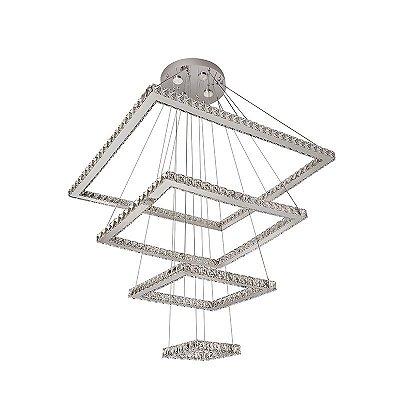 Lustre Inimpostare Metal Cromado Cristal Quadrado 120x80cm Luciin 4x Power LED Bivolt LX082/1 Entradas e Hall