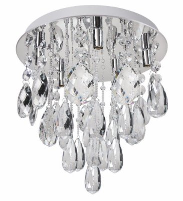 Plafon Diamond Crystal Lapidado Metal Cromado 45x40cm Luciin 5x Lâmpada G9 Halopin Bivolt SI001 Salas e Quartos