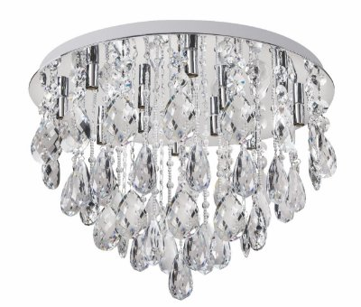 Plafon Diamond Crystal Lapidado Metal Cromado 65x60cm Luciin 12x Lâmpada G9 Halopin Bivolt SI002 Salas e Quartos