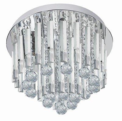 Plafon Light Diamond Metal Cristal Lapidado 40x25cm Luciin 5x Lâmpadas G9 Halopin Bivolt SI003 Quartos e Salas