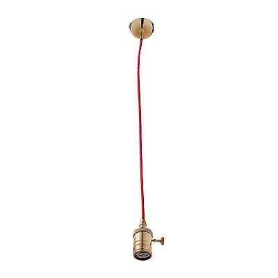 Pendente Inannata Vertical Tubular Metal Dourado 8x6cm Luciin 1x Lâmpada E27 Bivolt ZG171/9 Balcões e Mesas