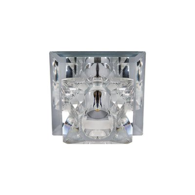 Spot Inmartini Embutido Quadrado Metal Cristal 4x9cm Luciin 1x Lâmpada LED RGB 3W Bivolt ZG222/1 Salas e Cozinhas
