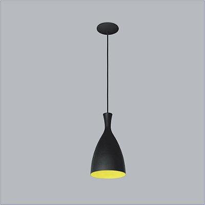 Pendente Vita Vertical Conico Metal Preto 16,5x10cm Usina Design 1x Lâmpada E27 Bivolt 16020-17 Cozinhas e Balcões