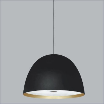 Pendente Shimeji Redondo Oval Alumínio Preto 56x38,5cm Usina Design 3x Lâmpadas E27 Bivolt 16035-60 Salas e Mesas