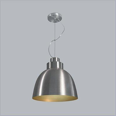 Pendente Tron Vertical Conico Metal Cromado 37x40cm Usina Design 1x Lâmpada E27 Bivolt 16045-40 Balcões e Mesas
