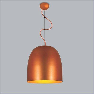 Pendente Boto Peq Tubular Redondo Metal Laranja 31,5x30cm Usina Design 1x E27 Bivolt 16070-30 Salas e Balcões