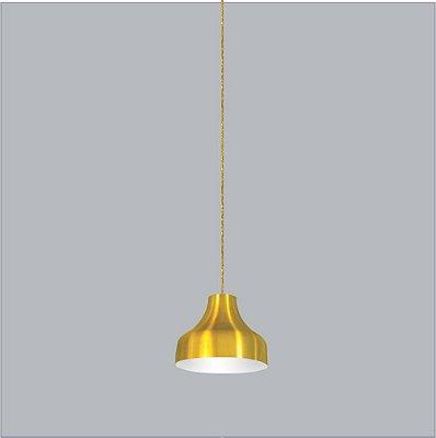 Pendente Bali Med Conico Redondo Metal Amarelo 23,5x18,5cm Usina Design 1x E27 Bivolt 16075-25 Balcões e Mesas