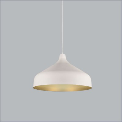 Pendente Bali Med Conico Redondo Metal Branco 23,5x18,5cm Usina Design 1x E27 Bivolt 16075-45 Balcões e Mesas