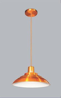 Pendente Juquiá Vertical Peq Redondo Alumínio Laranja 18x37cm Usina Design 1x E27 Bivolt 16155-40 Balcões e Mesas