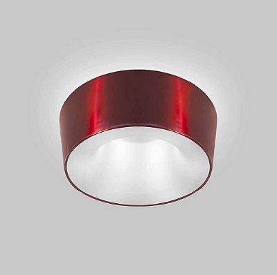 Plafon Vulcano Sobrepor Redondo Metal Vermelho 15x45cm Usina Design 4x E27 Bivolt 16215-45 Entradas e Salas