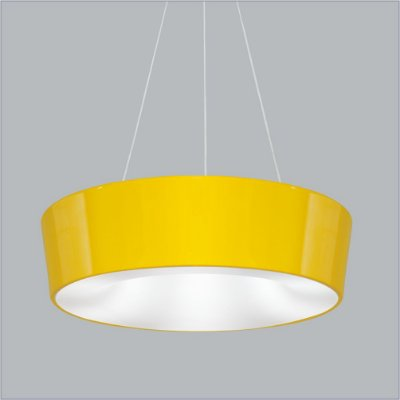 Pendente Vulcano Med Redondo Alumínio Amarelo 15x45cm Usina Design 4x E27 Bivolt 16216-45 Mesas e Corredores