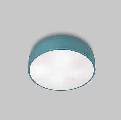 Plafon Titan P Sobrepor Redondo Difusor Metal Azul 11x40cm Usina Design 4x E27 Bivolt 16225-40 Salas e Escritórios