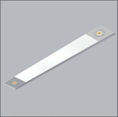 Plafon Now Frame Embutido Retangular Acrílico 12x84cm Usina Design 2 T8 Tubular/ 2 GU10 30090-79 Salas e Entradas