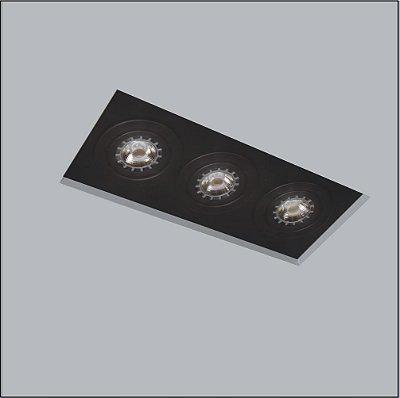Plafon Now Frame Embutido Retangular Acrílico Preto 33x11cm Usina Design 3x GU10 Dicróica 30215-38 Salas e Quartos