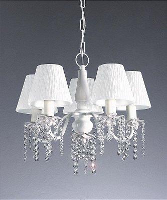 Lustre Candelabro Alumínio Branco Tecido Cristal 45x31cm Old Artisan 5x Lâmpadas E27 Bivolt PL113-5B Salas e Hall