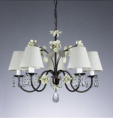 Lustre Rosas Candelabro Metal Cristal Tecido 50x60cm Old Artisan 5x Lâmpadas E27 Bivolt PL103-5A Salas e Hall