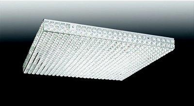 Plafon Quadrado Sobrepor Cristal Transparente 7x49cm Old Artisan 10x G9 Halopin Bivolt PLF-4556 Entradas e Salas