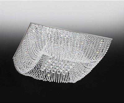 Plafon Cristal Sobrepor Quadrado Transparente 16x35cm Old Artisan 6x G9 Halopin Bivolt PLF4533-6 Salas e Quartos