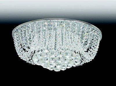 Plafon Cristal Lapidado Redondo Sobrepor 22x45cm Old Artisan 6x G9 Halopin Bivolt PLF4531-6 Corredores e Salas