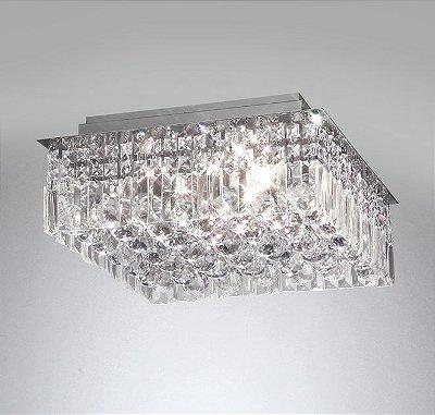 Plafon Cristal Lapidado Quadrado Sobrepor 16x48cm Old Artisan 10x G9 Halopin Bivolt PLF-4259 Entradas e Quartos