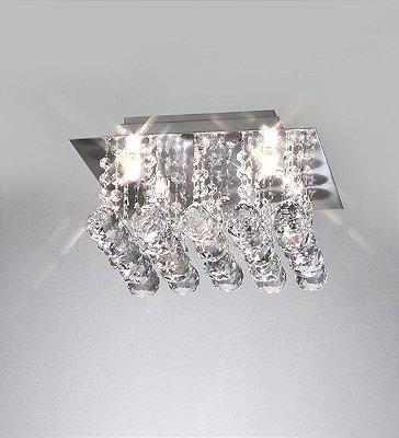 Plafon Cristal Lapidado Quadrado Metal Cromado 16x28cm Old Artisan 4x G9 Halopin Bivolt PLF-4235 Corredores e Salas
