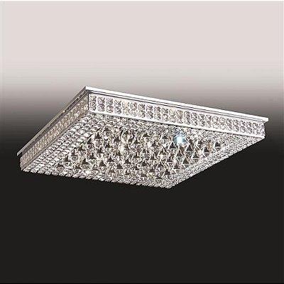 Plafon Sobrepor Quadrado Cristal Lapidado 8,5x90cm Old Artisan 32x G9 Halopin Bivolt PLF4815-32 Salas e Entradas