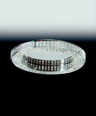 Plafon Aro Redondo Cristal Lapidado Metal 7,5x90cm Old Artisan 20x G9 Halopin Bivolt PLF4823-20 Entradas e Salas
