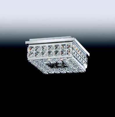 Plafon Aro Quadrado Cristal Lapidado Metal 7,5x20cm Old Artisan 4x G9 Halopin Bivolt PLF-4805 Corredores e Salas