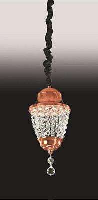 Pendente Vertical Cristal Metal Bronze Tecido 33x16cm Old Artisan 2x G9 Halopin Bivolt PD-4836 Salas e Entradas