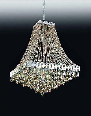 Lustre Imperial Vertical Cristal Lapidado 74x40cm Old Artisan 12x G9 Halopin Bivolt PD4690-12 Entradas e Salas