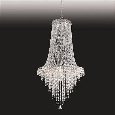 Lustre Imperial Vertical Cristal Lapidado 110x60cm Old Artisan 15x G9 Halopin Bivolt PD4788-15 Salas e Entradas
