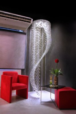 Plafon Cristal Curvo Lapidado Vertical Metal 300x90cm Old Artisan 18x GU10 Dicróica Bivolt PLF4456-18 Salas e Hall