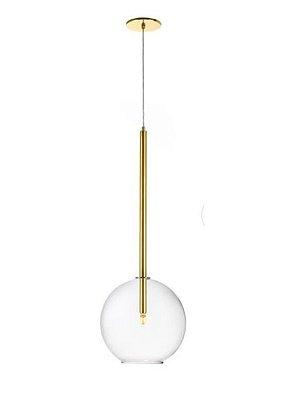 Pendente Bolha Vidro Vertical Alumínio Dourado 80x25cm Old Artisan 1x G9 Halopin Bivolt PD-5222 Mesas e Entradas