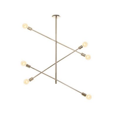 Pendente Moderno Hastes Vertical Metal Dourado 94x100cm Old Artisan 6x G9 Halopin Bivolt PD5219-A Salas e Hall