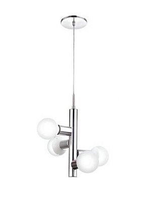 Pendente Alumínio Cromado Vertical Vidro Branco 38x18cm Old Artisan 4x E27 Bivolt PD-5206 Salas e Entradas