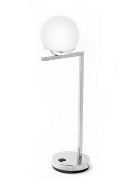 Abajur Esfera Vidro Vertical Metal Cromado 50x16cm Old Artisan 1x G9 Halopin Bivolt ABJ-5187 Salas e Mesas