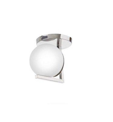 Plafon Esfera Vidro Branco Alumínio Cromado 15x14cm Old Artisan 1x Lâmpada E27 Bivolt PLF-5184 Salas e Hall