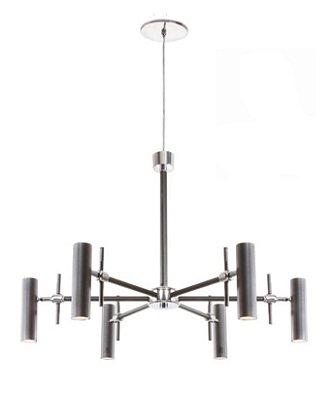 Lustre 6 Braços Moderno Vertical Metal Cromado 70x70cm Old Artisan 6x GU10 Minidicróica Bivolt PD-5148 Salas e Hall