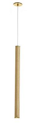 Pendente Tubo Redondo Vertical Metal Dourado 60x39cm Old Artisan 1x Minidicróica Bivolt PD-5141 Salas e Mesas