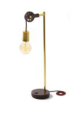 Abajur Roldana Fio Vertical Moderno Metal Dourado 56x12x16cm Old Artisan 1x E27 Bivolt ABJ-5123 Quartos e Mesas
