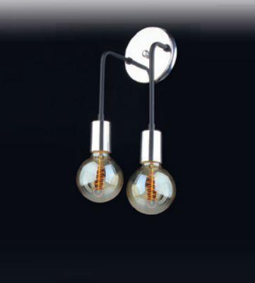 Arandela Dupla Moderna Metal Curvo Cromado 30x12cm Old Artisan 2x E27 Bivolt AR-5101-2 Corredores e Salas