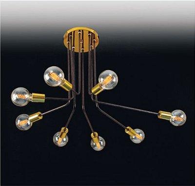 Plafon Hastes Curvas Moderno Alumínio Dourado 50x65cm Old Artisan 8x E27 Bivolt PLF5100 Corredores e Salas