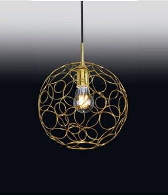 Pendente Bola Aramado Moderno Vertical Metal Dourado 31x27cm Old Artisan 1x E27 Bivolt PD-5015 Balcões e Salas