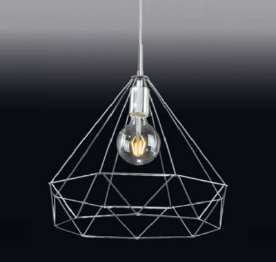 Pendente Gaiola Triangular Moderno Aramado Metal 42x40cm Old Artisan 1x E27 Bivolt PD-5005 Mesas e Cozinhas