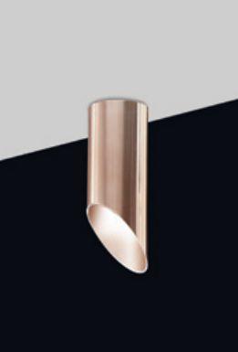 Plafon Tubo Vertical Cobre Escovado Metal 20x6,4cm Old Artisan 1x GU10 Dicróica EMB-4993A Balcões e Entradas