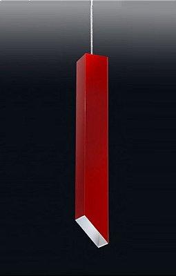 Pendente Fino Moderno Vertical Alumínio Vermelho 59x7,6cm Old Artisan 1x PAR20 Bivolt PD-4986 Balcões e Entradas