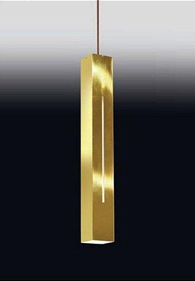 Pendente Tubo Canal Retangular Alumínio Dourado 59x7,6cm Old Artisan 1x PAR20 Bivolt PD-4976 Balcões e Cozinhas