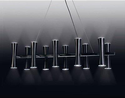 Pendente 10 Tubos Cônicos Moderno Alumínio Preto 120x27cm Old Artisan 20x GU10 Dicróica PD4956-10 Balcões e Mesas